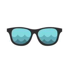 Black sunglasses with a beach reflecting icon vector image