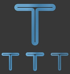 Blue line t logo design set vector image