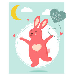 card with funny rabbit in love with heart balloon vector image