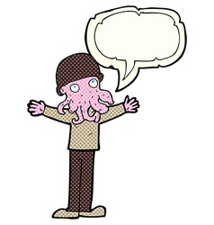 cartoon alien squid face man with speech bubble vector image