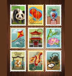 China travel stamps set poster vector