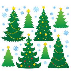 Christmas tree silhouette theme 9 vector