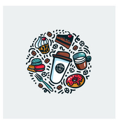 coffee and cake concept colorful doodle style vector image