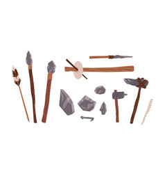 Collection of prehistoric stone tools bundle vector