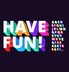 colorful modern font striped 3d alphabet funny vector image