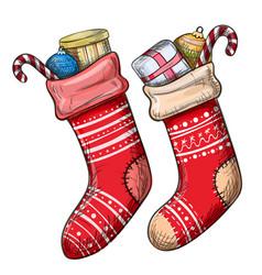 colorful sketch of christmas socks vector image