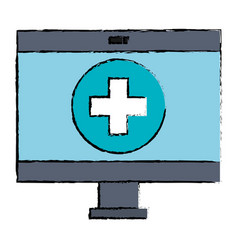 computer display with medical software vector image
