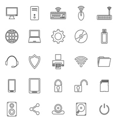Computer line icons on white background vector image