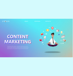 content marketing landing page vector image