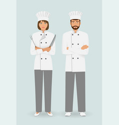 Cooking food characters couple of male and female vector