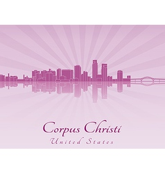 Corpus Christi skyline in purple radiant orchid vector image