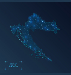 Croatia map with cities luminous dots - neon vector