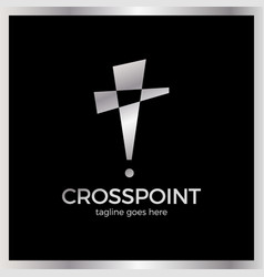 Cross point logotype church pin logotype vector