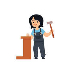 cute cartoon builder girl holding hammer and vector image