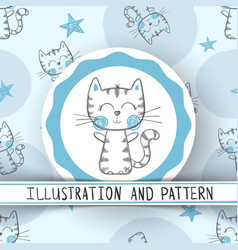 Cute cat - cartoon seamless pattern vector