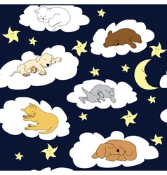 Cute Pets Night sky background vector