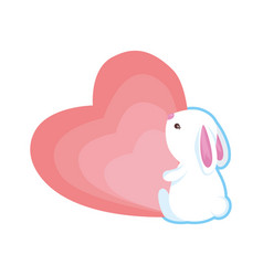 cute rabbit with heart love vector image