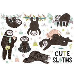 cute sleeping sloths collection with mountains vector image
