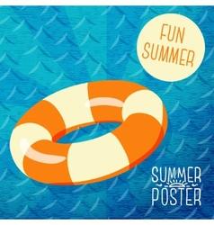 Cute summer poster - orange lifebuoy in water vector
