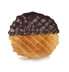 delicious waffles in chocolate sauce reali vector image