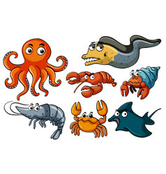 Different kinds of sea wildlife vector