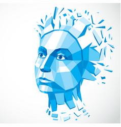 Dimensional low poly female portrait blue graphic vector