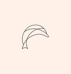 Dolphin logo line outline monoline vector