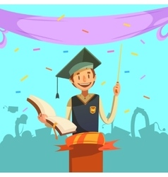 Education retro cartoon vector image