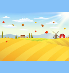 Farm landscape at autumn vector