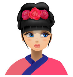 Geisha flowers in her head vector