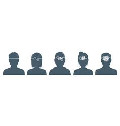 gossips black silhouettes people in row vector image