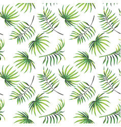 green leaves seamless pattern white background vector image