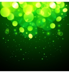 Green magic bokeh effect abstract background vector image