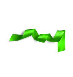 Green realistic silk ribbon vector