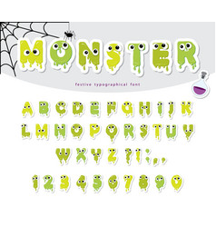 halloween monster paper cut out font for kids vector image