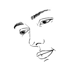 Hand-drawn portrait of white-skin sorrowful woman vector