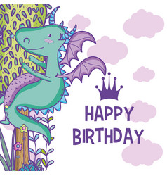 Happy birthday card cute cartoons vector