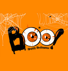 happy halloween banner background boo lettering vector image