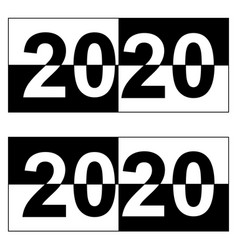 happy new year 2020 monochrome square black and vector image