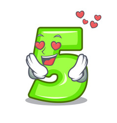 in love number five isolated on the mascot vector image