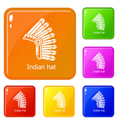 indian hat icons set color vector image