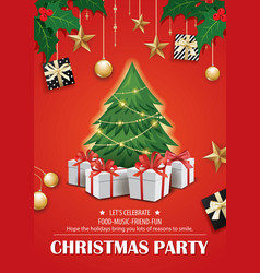 Invitation merry christmas red party poster vector
