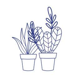 Isolated plants inside pots design vector