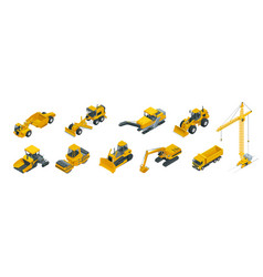 isometric icons set construction equipment and vector image