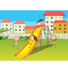 Kids playing on a slide vector image
