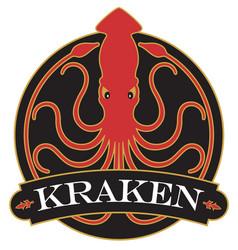 Kraken or giant squid badge logo or emblem design vector