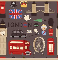 london travel icons english set city flag europe vector image