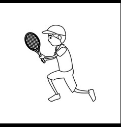 man athlete practicing tennis avatar character vector image