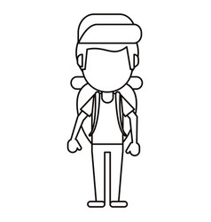 man backpack and cap thin line vector image