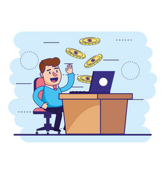 man seating with laptop in desk and coins vector image